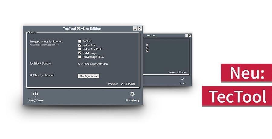 Neue Funktionen für das Controlmini und Controlpro durch die kostenlose PEAKnx TecTool Software